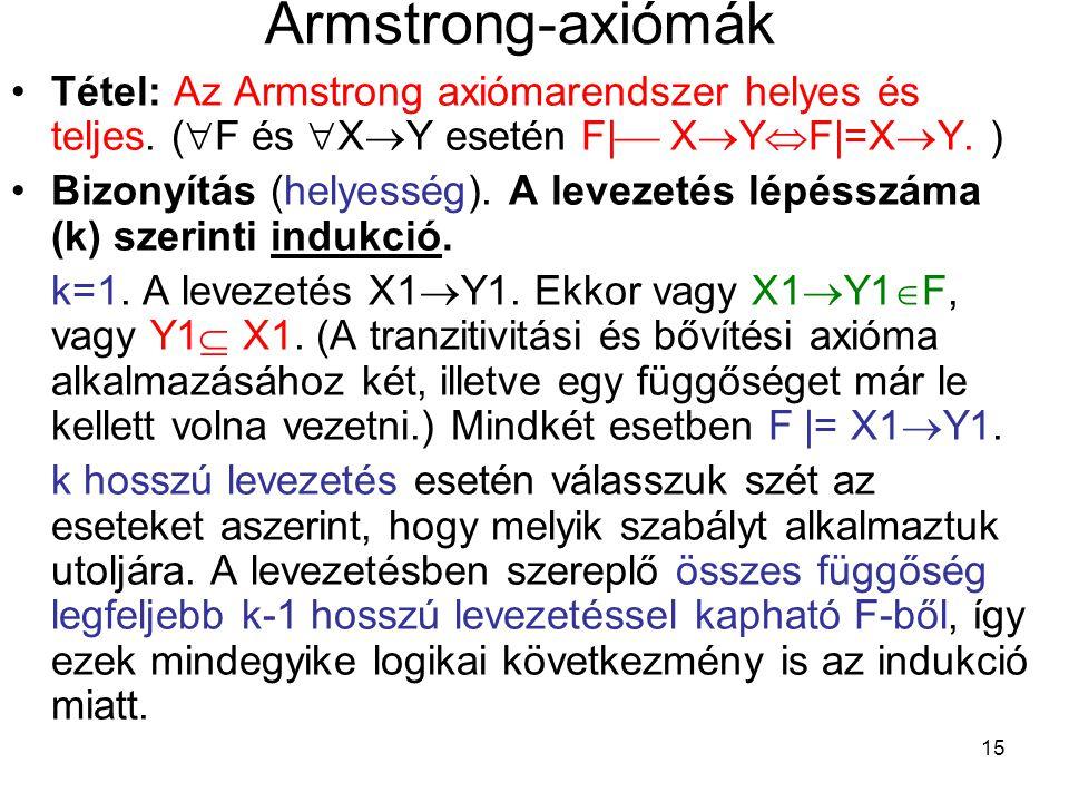 15 Armstrong-axiómák Tétel: Az Armstrong axiómarendszer helyes és teljes. (  F és  X  Y esetén F|  X  Y  F|=X  Y. ) Bizonyítás (helyesség). A l