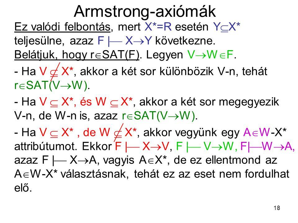 18 Armstrong-axiómák Ez valódi felbontás, mert X*=R esetén Y  X* teljesülne, azaz F  |  X  Y következne. Belátjuk, hogy r  SAT(F). Legyen V  W 