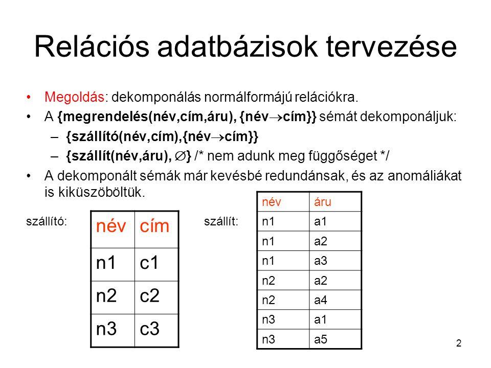 2 Relációs adatbázisok tervezése Megoldás: dekomponálás normálformájú relációkra. A {megrendelés(név,cím,áru), {név  cím}} sémát dekomponáljuk: –{szá