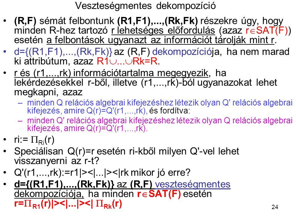 24 Veszteségmentes dekompozíció (R,F) sémát felbontunk (R1,F1),...,(Rk,Fk) részekre úgy, hogy minden R-hez tartozó r lehetséges előfordulás (azaz r 