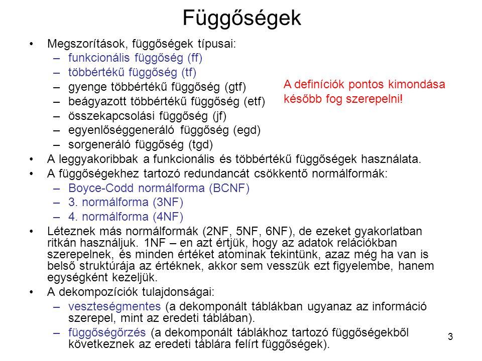 54 Normálformák (BCNF) R=KOITDJ F= {K  O, IT  K, IO  T, KD  J, ID  T } Z:=KOITDJ AB:=KO, mert F|=ITDJ  K Y:=KITDJ AB:=TK, mert F|=IDJ  T Y:=ITDJ AB:=TJ, mert F|=ID  T Y:=ITD tovább nem dekomponálható (BCNF) Z:=KOITDJ-T=KOIDJ AB:=OI, mert F|=KDJ  O Y:= KODJ AB:=OD, mert F|=KJ  O Y:= KOJ AB:=OJ, mert F|=K  O Y:=KO tovább nem dekomponálható (BCNF) Z:=KOIDJ-O:=KIDJ AB:=JI, mert F|=KD  J Y:=KDJ tovább nem dekomponálható (BCNF) Z:=KIDJ-J=KID tovább nem dekomponálható (BCNF) Output: d=(ITD,KO,KDJ,KID) az (R,F) veszteségmentes BNCF dekompozíciója.