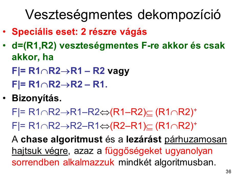36 Veszteségmentes dekompozíció Speciális eset: 2 részre vágás d=(R1,R2) veszteségmentes F-re akkor és csak akkor, ha F|= R1  R2  R1 – R2 vagy F|= R
