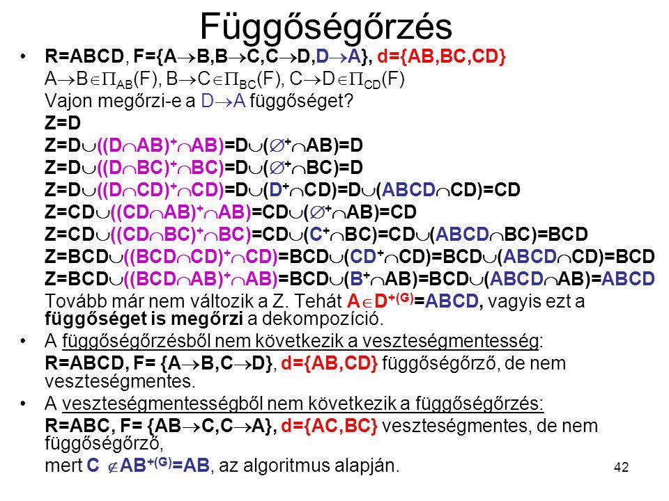 42 Függőségőrzés R=ABCD, F={A  B,B  C,C  D,D  A}, d={AB,BC,CD} A  B  AB (F), B  C  BC (F), C  D  CD (F) Vajon megőrzi-e a D  A függősége