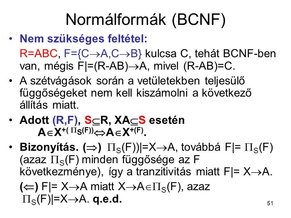 51 Normálformák (BCNF) Nem szükséges feltétel: R=ABC, F={C  A,C  B} kulcsa C, tehát BCNF-ben van, mégis F|=(R-AB)  A, mivel (R-AB)=C. A szétvágások