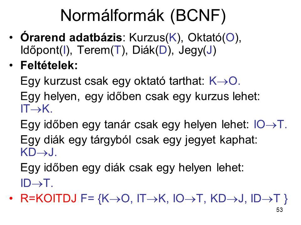 53 Normálformák (BCNF) Órarend adatbázis: Kurzus(K), Oktató(O), Időpont(I), Terem(T), Diák(D), Jegy(J) Feltételek: Egy kurzust csak egy oktató tarthat
