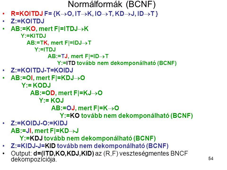 54 Normálformák (BCNF) R=KOITDJ F= {K  O, IT  K, IO  T, KD  J, ID  T } Z:=KOITDJ AB:=KO, mert F|=ITDJ  K Y:=KITDJ AB:=TK, mert F|=IDJ  T Y:=ITD