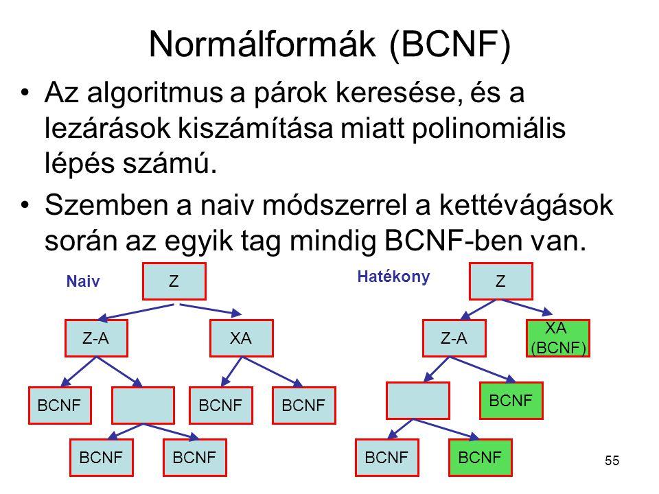 55 Normálformák (BCNF) Az algoritmus a párok keresése, és a lezárások kiszámítása miatt polinomiális lépés számú. Szemben a naiv módszerrel a kettévág