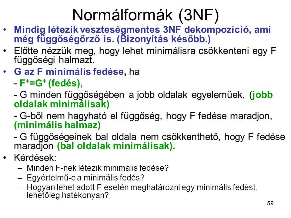 59 Normálformák (3NF) Mindig létezik veszteségmentes 3NF dekompozíció, ami még függőségőrző is. (Bizonyítás később.) Előtte nézzük meg, hogy lehet min