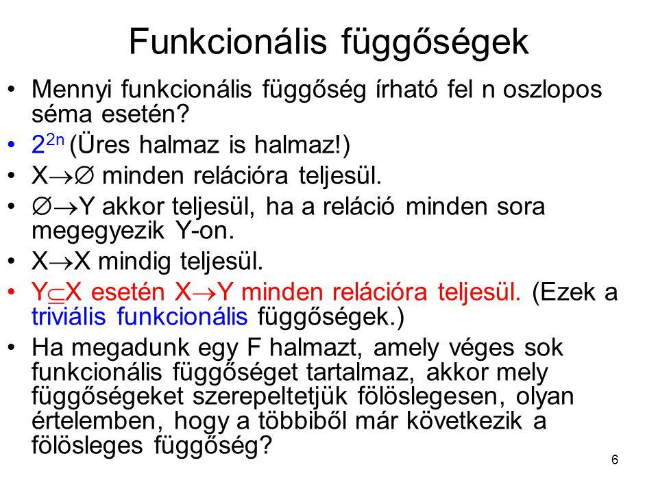 6 Funkcionális függőségek Mennyi funkcionális függőség írható fel n oszlopos séma esetén? 2 2n (Üres halmaz is halmaz!) X  minden relációra teljesül