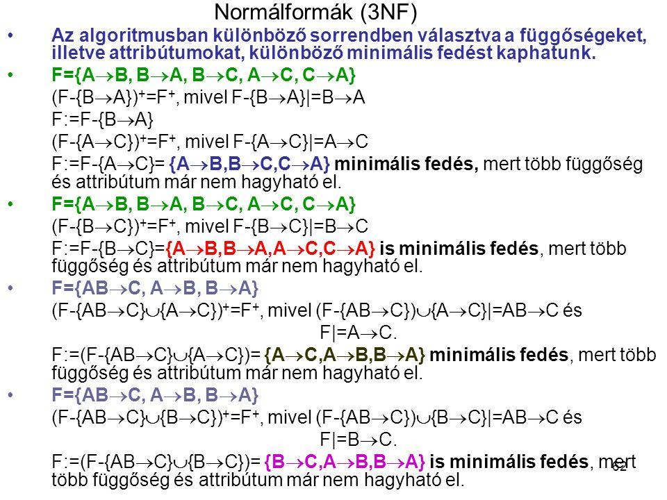62 Normálformák (3NF) Az algoritmusban különböző sorrendben választva a függőségeket, illetve attribútumokat, különböző minimális fedést kaphatunk. F=