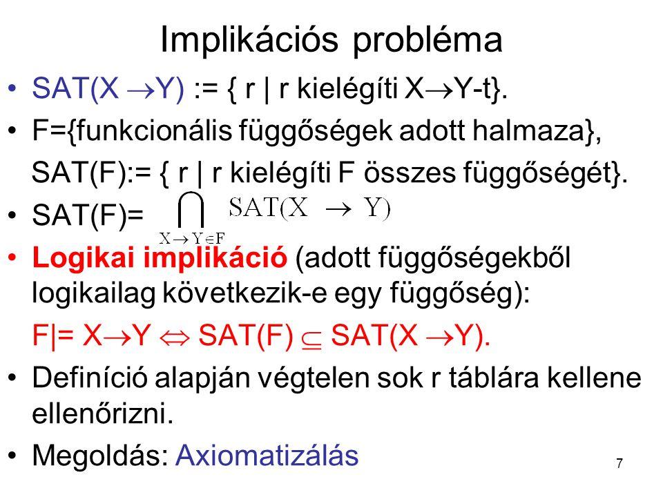 78 Többértékű függőségek Jelölés: –F funkcionális függőségek halmaza –M többértékű függőségek halmaza –D vegyes függőségek (funkcionális és többértékű függőségek) halmaza SAT(függőségi halmaz):= összes olyan reláció, amely a függőségi halmaz minden elemét kielégíti.