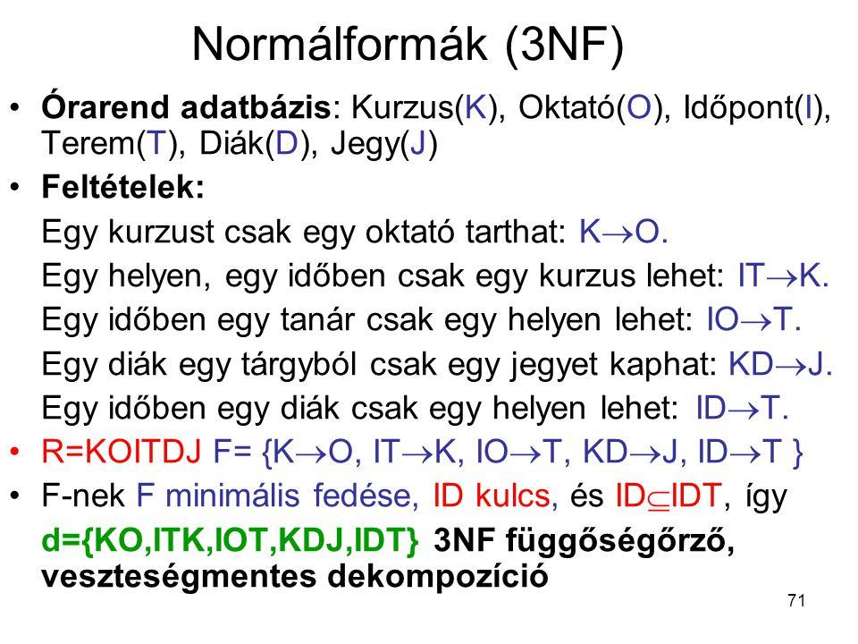 71 Normálformák (3NF) Órarend adatbázis: Kurzus(K), Oktató(O), Időpont(I), Terem(T), Diák(D), Jegy(J) Feltételek: Egy kurzust csak egy oktató tarthat: