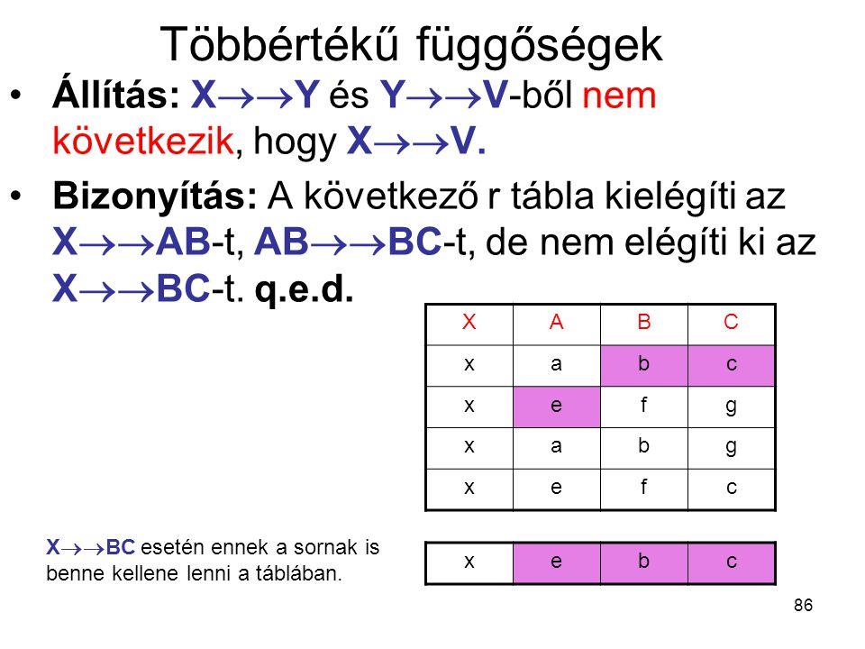 86 Többértékű függőségek Állítás: X  Y és Y  V-ből nem következik, hogy X  V. Bizonyítás: A következő r tábla kielégíti az X  AB-t, AB  BC-t