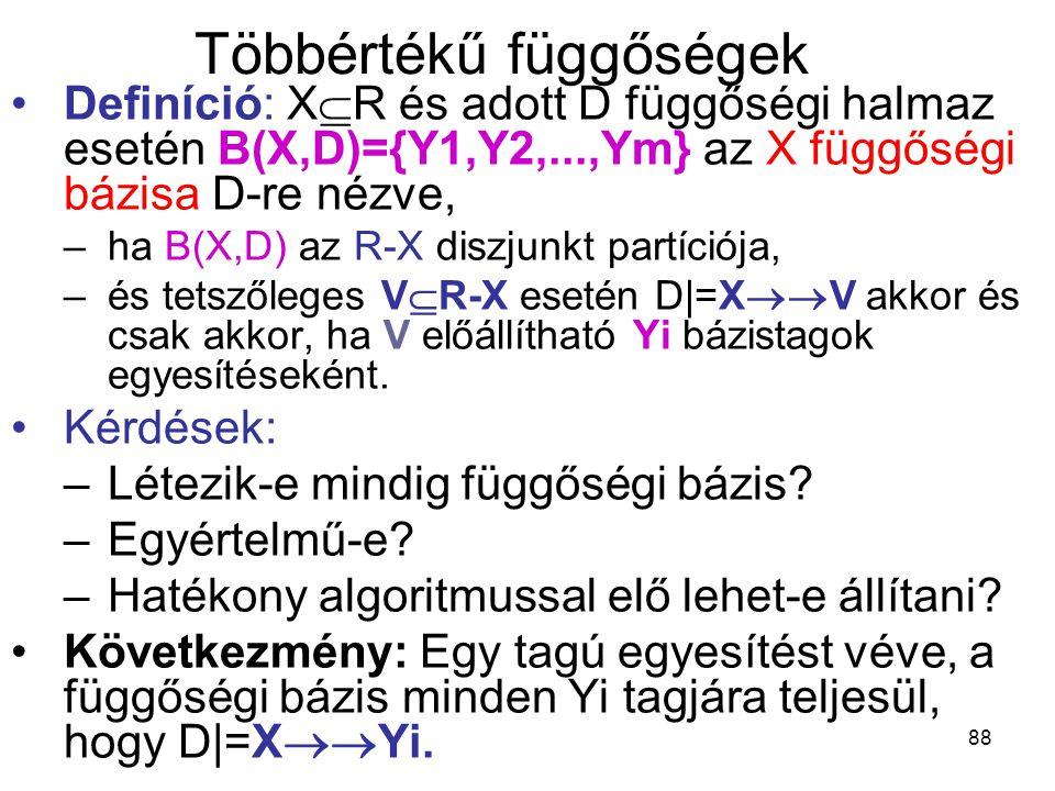 88 Többértékű függőségek Definíció: X  R és adott D függőségi halmaz esetén B(X,D)={Y1,Y2,...,Ym} az X függőségi bázisa D-re nézve, –ha B(X,D) az R-X