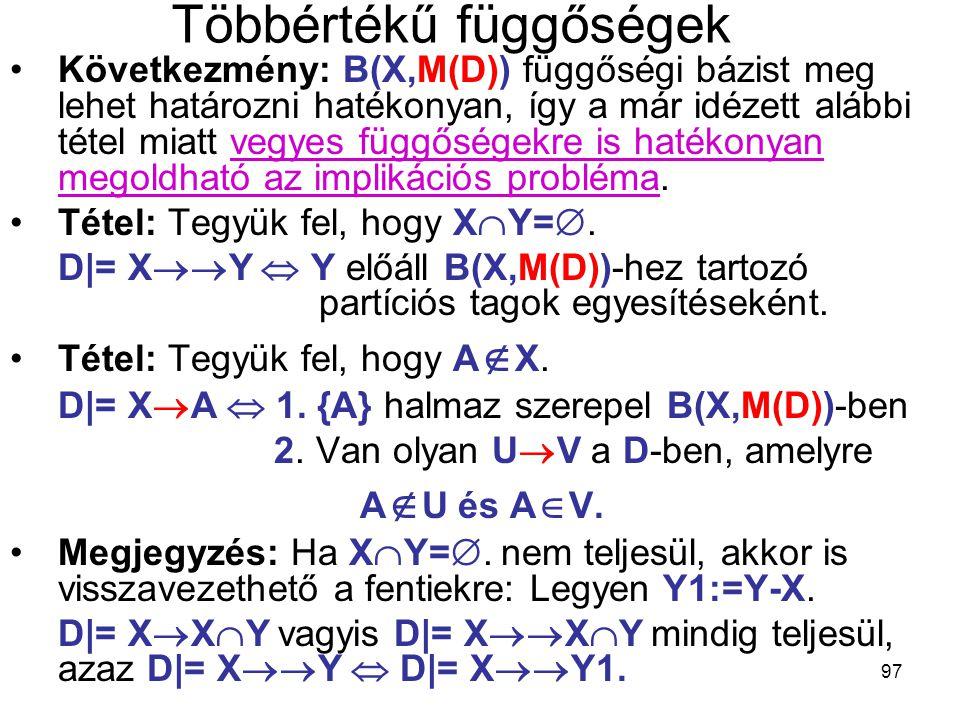 97 Többértékű függőségek Következmény: B(X,M(D)) függőségi bázist meg lehet határozni hatékonyan, így a már idézett alábbi tétel miatt vegyes függőség