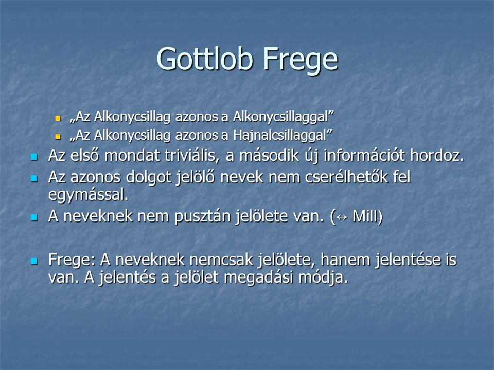 """Gottlob Frege """"Az Alkonycsillag azonos a Alkonycsillaggal"""" """"Az Alkonycsillag azonos a Alkonycsillaggal"""" """"Az Alkonycsillag azonos a Hajnalcsillaggal"""" """""""