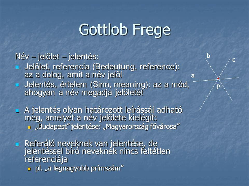 Gottlob Frege Név – jelölet – jelentés: Jelölet, referencia (Bedeutung, reference): az a dolog, amit a név jelöl Jelölet, referencia (Bedeutung, refer