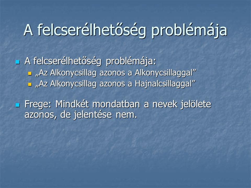 """A felcserélhetőség problémája A felcserélhetőség problémája: A felcserélhetőség problémája: """"Az Alkonycsillag azonos a Alkonycsillaggal"""" """"Az Alkonycsi"""