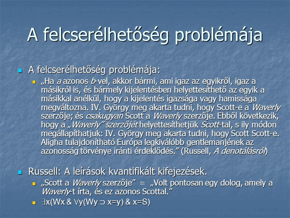 """A felcserélhetőség problémája A felcserélhetőség problémája: A felcserélhetőség problémája: """"Ha a azonos b-vel, akkor bármi, ami igaz az egyikről, iga"""
