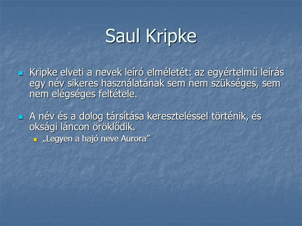 Saul Kripke Kripke elveti a nevek leíró elméletét: az egyértelmű leírás egy név sikeres használatának sem nem szükséges, sem nem elégséges feltétele.