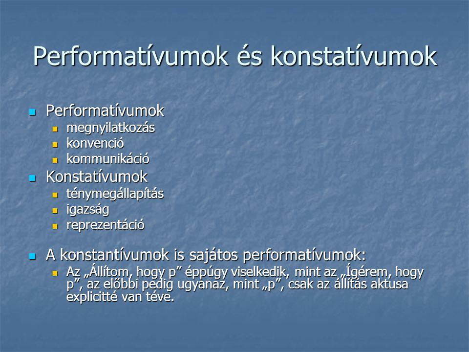 Performatívumok és konstatívumok Performatívumok Performatívumok megnyilatkozás megnyilatkozás konvenció konvenció kommunikáció kommunikáció Konstatív
