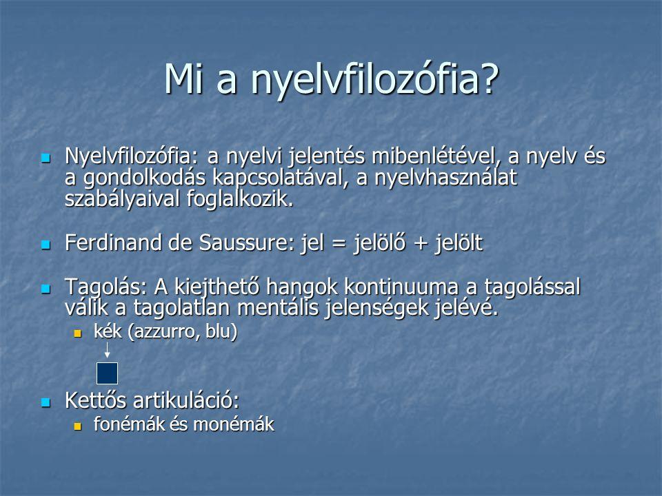 Mi a nyelvfilozófia? Nyelvfilozófia: a nyelvi jelentés mibenlétével, a nyelv és a gondolkodás kapcsolatával, a nyelvhasználat szabályaival foglalkozik