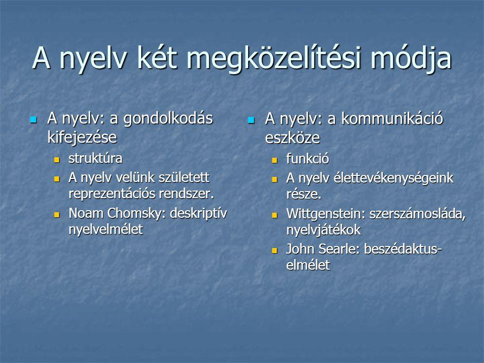 Nyelv és beszéd Nyelv / beszéd Nyelv / beszéd Saussure: langue / parole Saussure: langue / parole Chomsky: kompetencia / performancia Chomsky: kompetencia / performancia Nyelv Nyelv társadalmi intézmény társadalmi intézmény biológiai realitás biológiai realitás szelekciós tengely: nyelvi képesség (igeragozás) szelekciós tengely: nyelvi képesség (igeragozás) Beszéd Beszéd egyéni akarati aktus egyéni akarati aktus kombinációs tengely: a nyelvi képesség kreatív, a konkrét helyzetre reagáló megnyilvánulása kombinációs tengely: a nyelvi képesség kreatív, a konkrét helyzetre reagáló megnyilvánulása