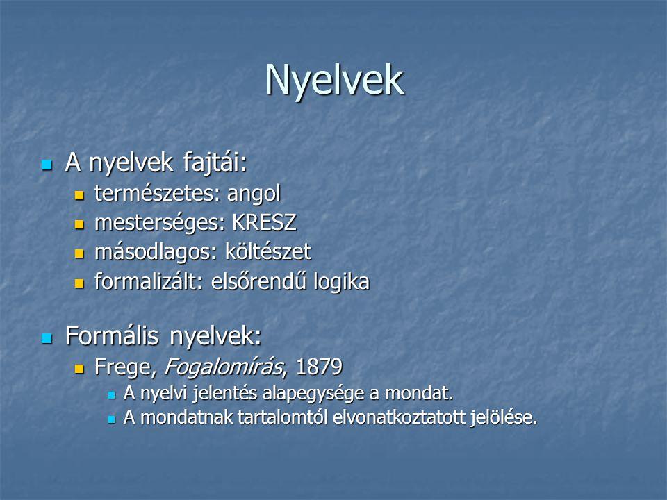Nyelvek A nyelvek fajtái: A nyelvek fajtái: természetes: angol természetes: angol mesterséges: KRESZ mesterséges: KRESZ másodlagos: költészet másodlag