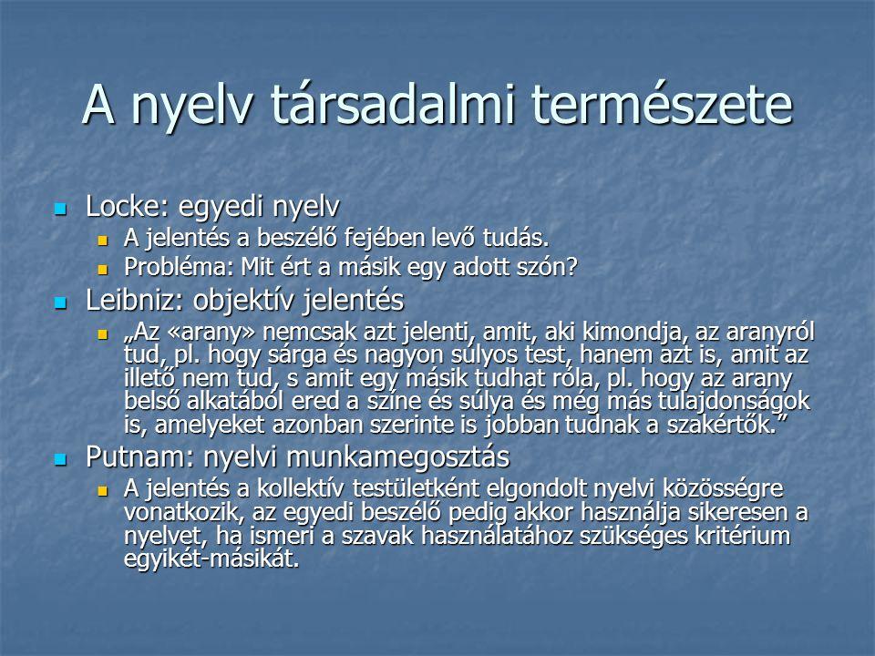 A nyelv társadalmi természete Locke: egyedi nyelv Locke: egyedi nyelv A jelentés a beszélő fejében levő tudás. A jelentés a beszélő fejében levő tudás