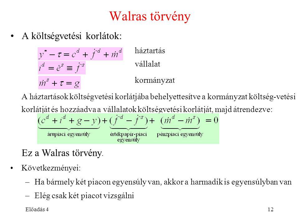 Előadás 412 Walras törvény A költségvetési korlátok: háztartás vállalat kormányzat A háztartások költségvetési korlátjába behelyettesítve a kormányzat