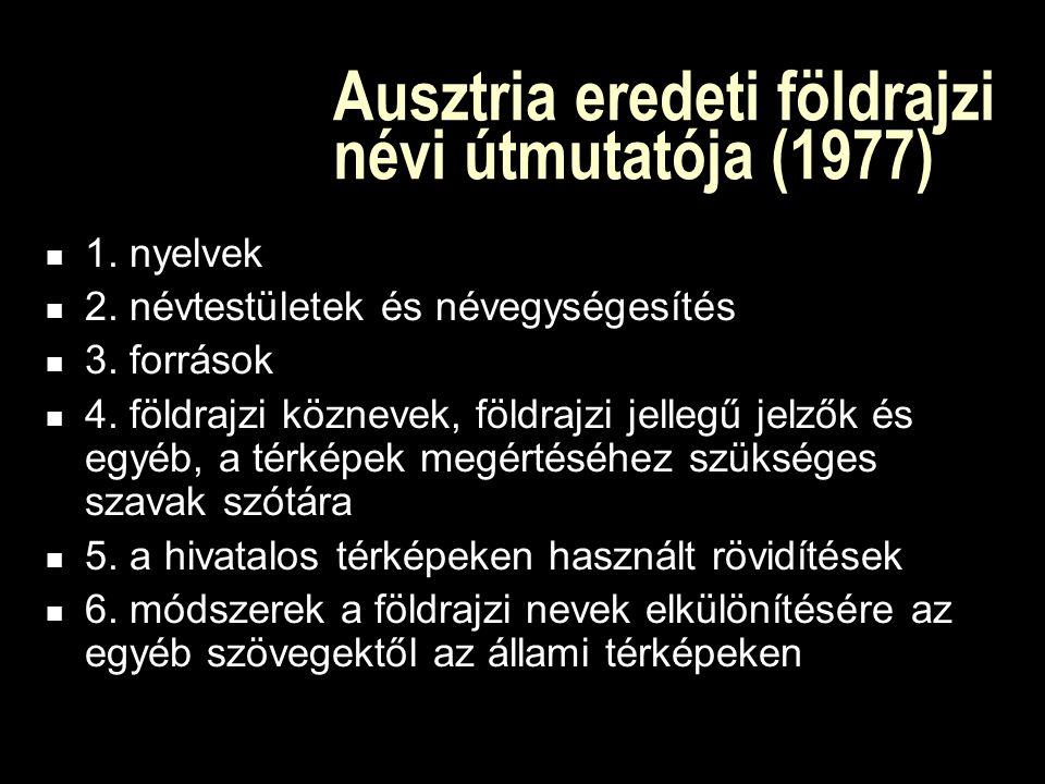 A földrajzi névi útmutatók története 1979-ben Ausztria benyújtja Földrajzi névi útmutató (Toponymic guidelines) c.
