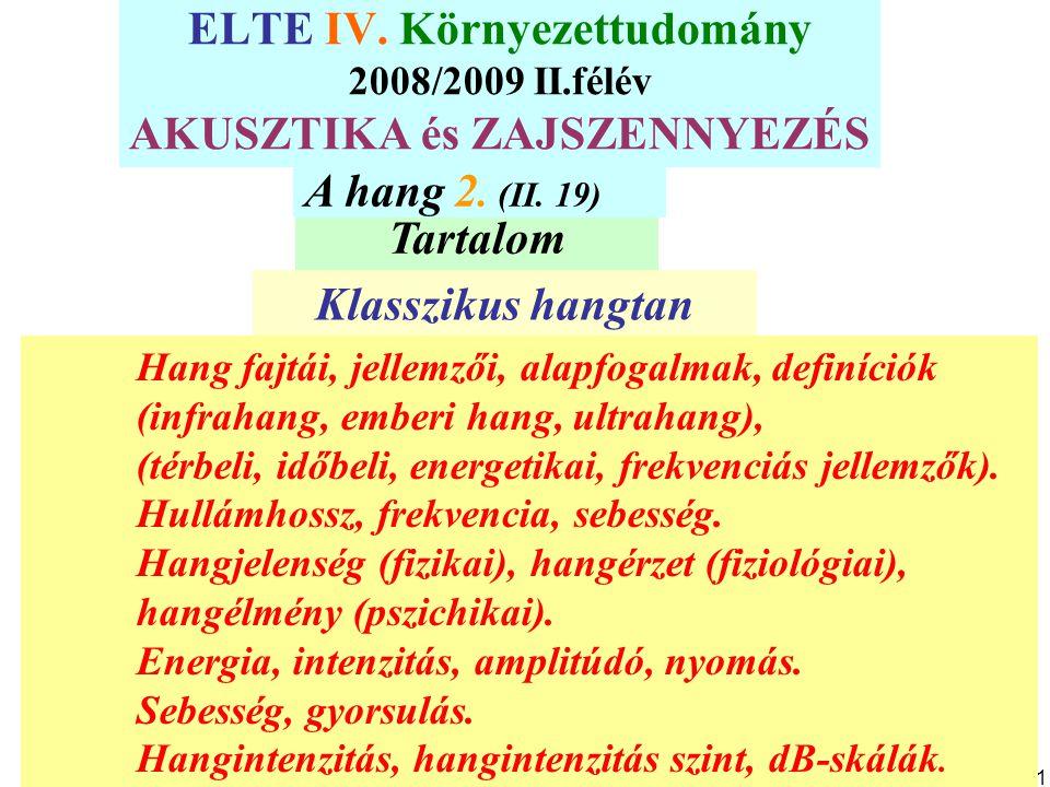 Tartalom A hang 2. (II. 19) Hang fajtái, jellemzői, alapfogalmak, definíciók (infrahang, emberi hang, ultrahang), (térbeli, időbeli, energetikai, frek