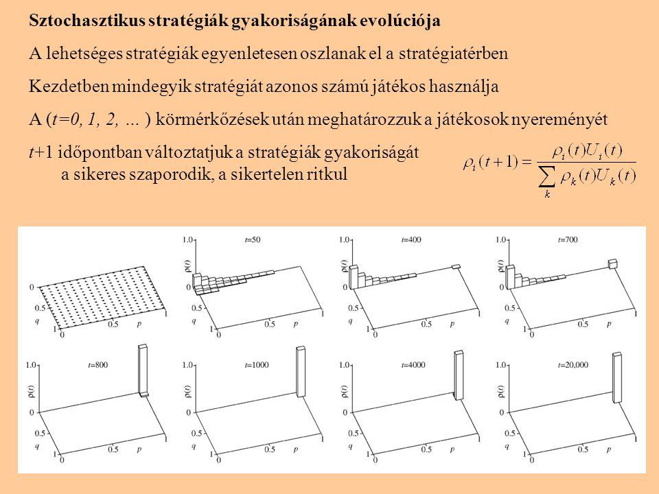 Sztochasztikus stratégiák gyakoriságának evolúciója A lehetséges stratégiák egyenletesen oszlanak el a stratégiatérben Kezdetben mindegyik stratégiát