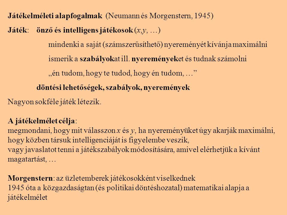 Játékelméleti alapfogalmak (Neumann és Morgenstern, 1945) Játék:önző és intelligens játékosok (x,y, …) mindenki a saját (számszerűsíthető) nyereményét