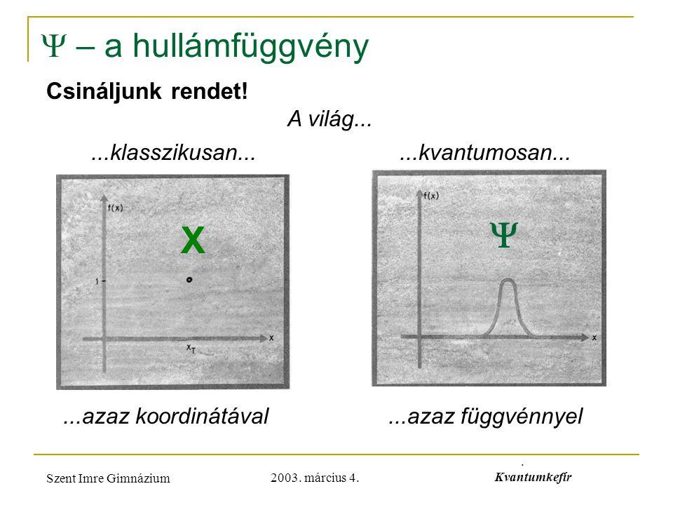 2003. március 4. Szent Imre Gimnázium. Kvantumkefír  – a hullámfüggvény Csináljunk rendet!...klasszikusan......kvantumosan... A világ...  X...azaz k