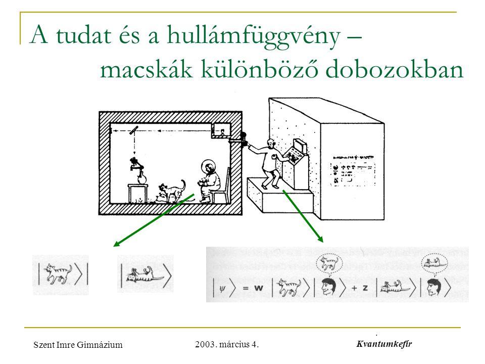 2003. március 4. Szent Imre Gimnázium. Kvantumkefír A tudat és a hullámfüggvény – macskák különböző dobozokban