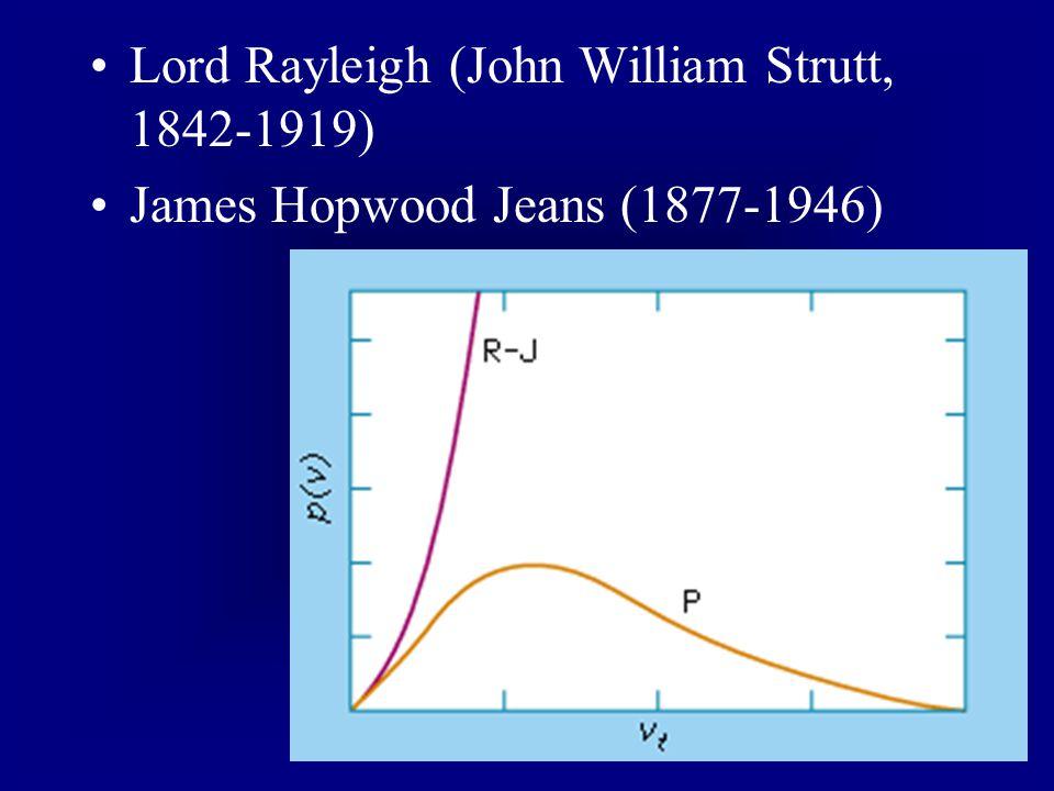 Lord Rayleigh (John William Strutt, 1842-1919) James Hopwood Jeans (1877-1946)