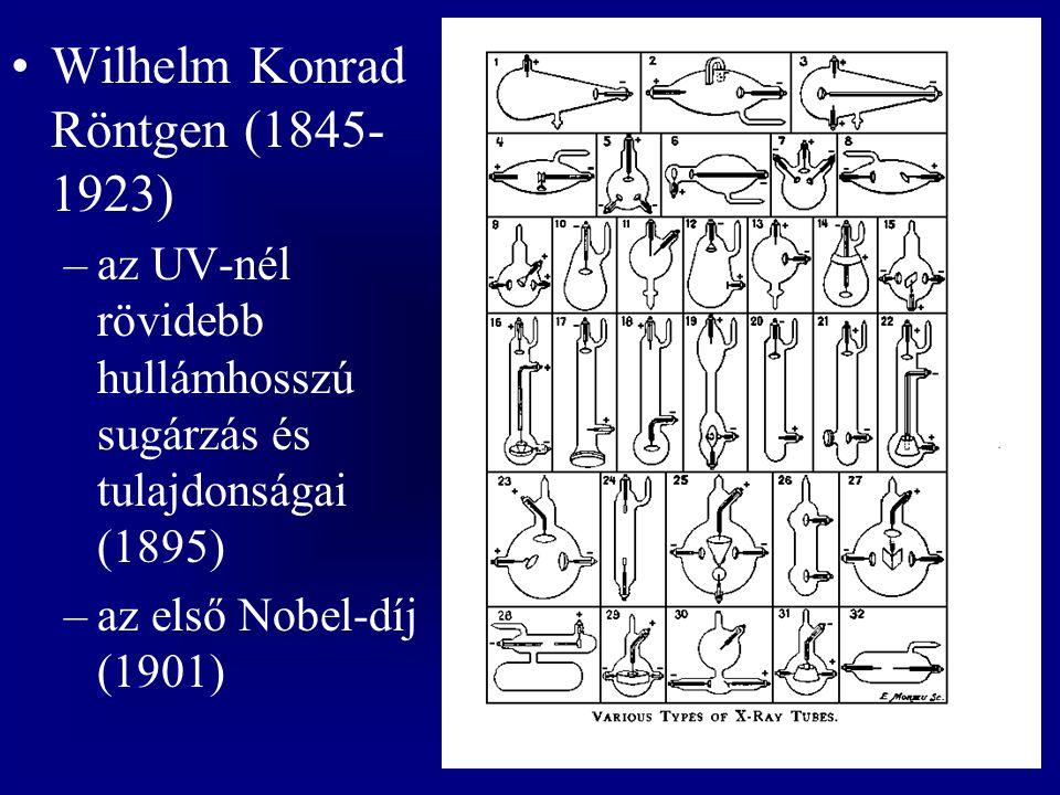 Wilhelm Konrad Röntgen (1845- 1923) –az UV-nél rövidebb hullámhosszú sugárzás és tulajdonságai (1895) –az első Nobel-díj (1901)