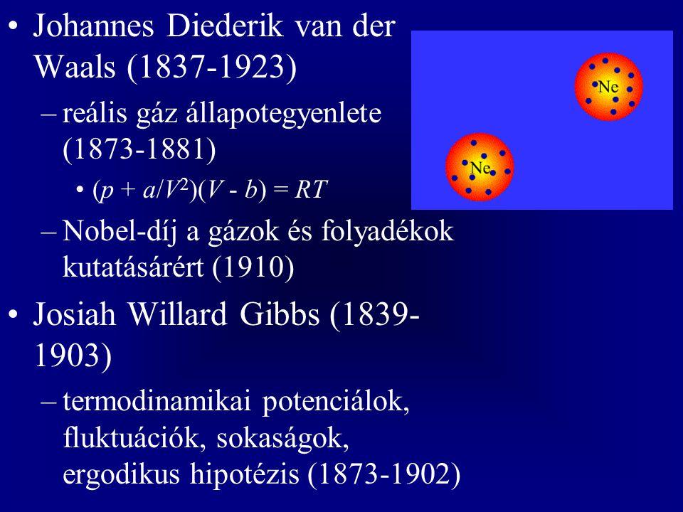 Johannes Diederik van der Waals (1837-1923) –reális gáz állapotegyenlete (1873-1881) (p + a/V 2 )(V - b) = RT –Nobel-díj a gázok és folyadékok kutatásárért (1910) Josiah Willard Gibbs (1839- 1903) –termodinamikai potenciálok, fluktuációk, sokaságok, ergodikus hipotézis (1873-1902)