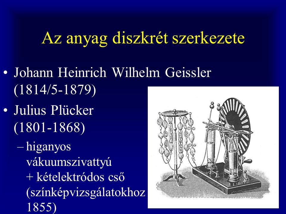 Az anyag diszkrét szerkezete Johann Heinrich Wilhelm Geissler (1814/5-1879) Julius Plücker (1801-1868) –higanyos vákuumszivattyú + kételektródos cső (színképvizsgálatokhoz 1855)