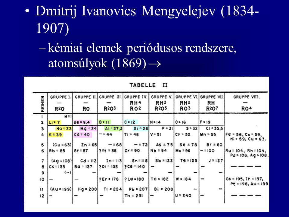 Dmitrij Ivanovics Mengyelejev (1834- 1907) –kémiai elemek periódusos rendszere, atomsúlyok (1869) 