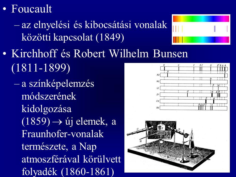Foucault –az elnyelési és kibocsátási vonalak közötti kapcsolat (1849) Kirchhoff és Robert Wilhelm Bunsen (1811-1899) –a színképelemzés módszerének ki