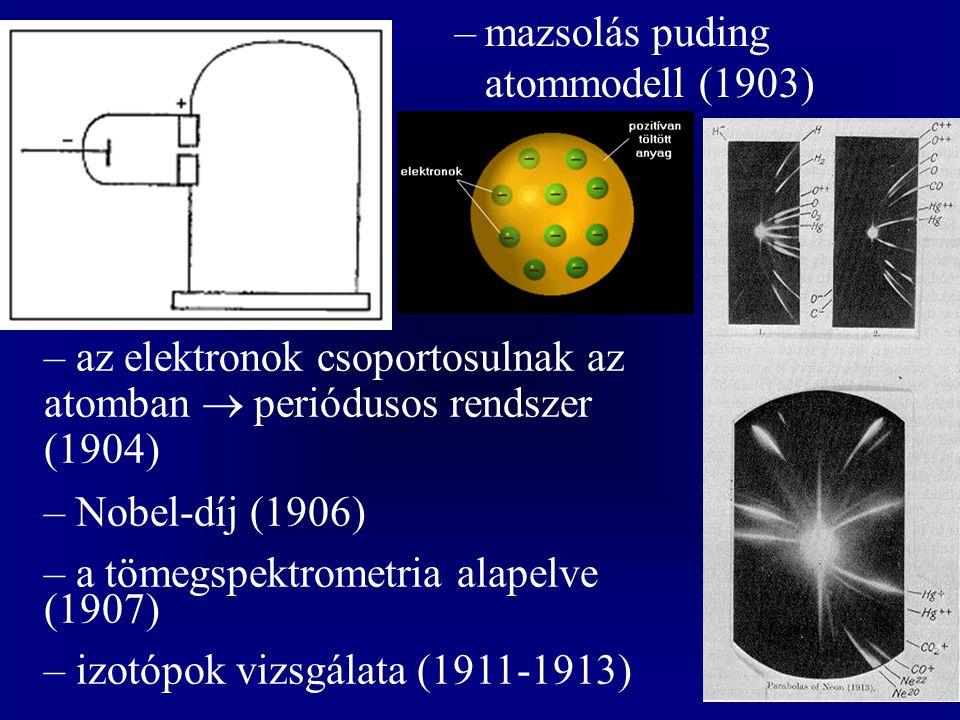 –mazsolás puding atommodell (1903) – az elektronok csoportosulnak az atomban  periódusos rendszer (1904) – Nobel-díj (1906) – a tömegspektrometria al