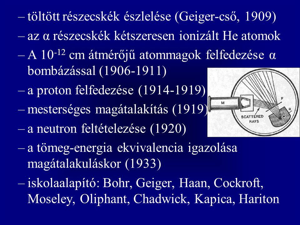 –töltött részecskék észlelése (Geiger-cső, 1909) –az α részecskék kétszeresen ionizált He atomok –A 10 -12 cm átmérőjű atommagok felfedezése α bombázá