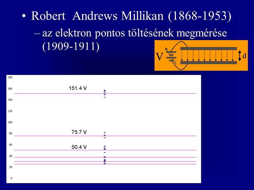 Robert Andrews Millikan (1868-1953) –az elektron pontos töltésének megmérése (1909-1911)