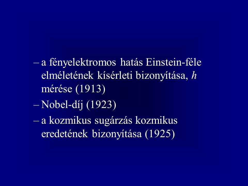 –a fényelektromos hatás Einstein-féle elméletének kísérleti bizonyítása, h mérése (1913) –Nobel-díj (1923) –a kozmikus sugárzás kozmikus eredetének bi