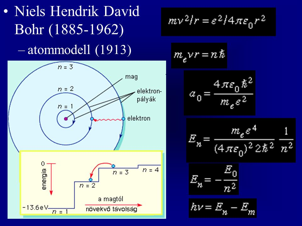 Niels Hendrik David Bohr (1885-1962) –atommodell (1913)