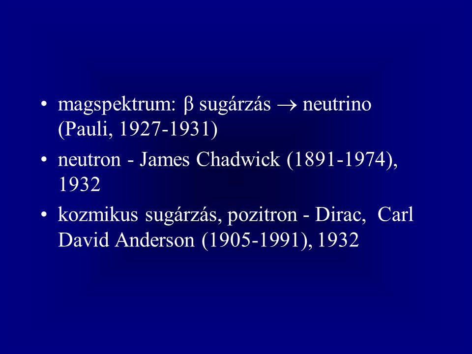 magspektrum: β sugárzás  neutrino (Pauli, 1927-1931) neutron - James Chadwick (1891-1974), 1932 kozmikus sugárzás, pozitron - Dirac, Carl David Anderson (1905-1991), 1932