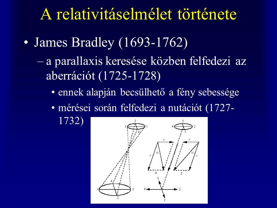 A relativitáselmélet története James Bradley (1693-1762) –a parallaxis keresése közben felfedezi az aberrációt (1725-1728) ennek alapján becsülhető a fény sebessége mérései során felfedezi a nutációt (1727- 1732)