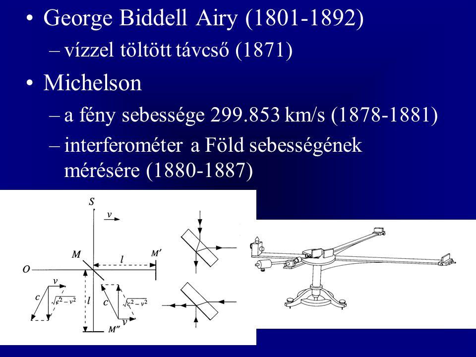 George Biddell Airy (1801-1892) –vízzel töltött távcső (1871) Michelson –a fény sebessége 299.853 km/s (1878-1881) –interferométer a Föld sebességének